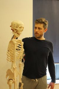 Bradley with skeleton